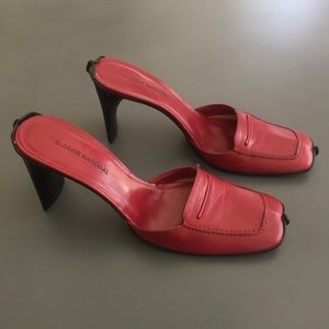 CoSTUME NATIONAL red kid leather mules Size 39
